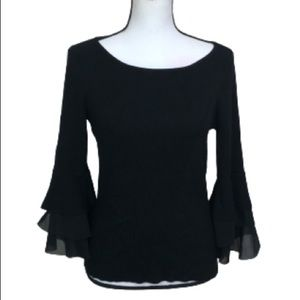 WHBM Tunic top with ruffle bell sleeves